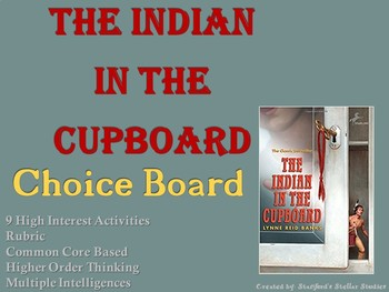 The Indian in the Cupboard Choice Board Novel Study Activities Menu Book Project