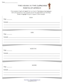 The Indian in the Cupboard Student Worksheets