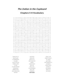 The Indian in the Cupboard Vocabulary Word Search Packet for Chapters 1-16