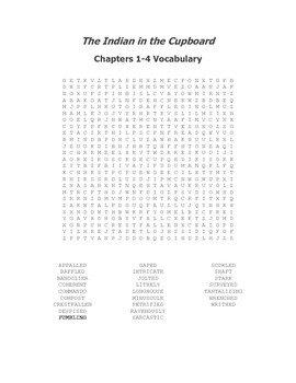 The Indian in the Cupboard Vocabulary Word Search for Chapters 1-4