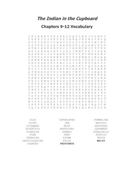 The Indian in the Cupboard Vocabulary Word Search for Chapters 9-12