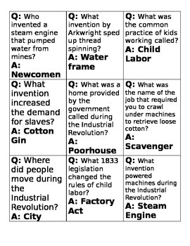 The Industrial Revolution Board Game with Questions for Review