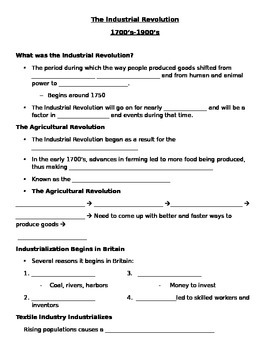 The Industrial Revolution Guided Notes Outline