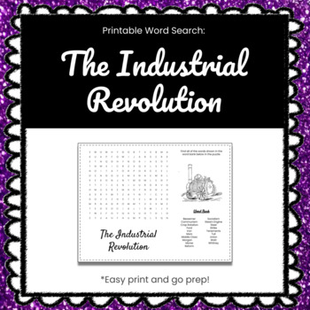 The Industrial Revolution Printable Word Search Puzzle