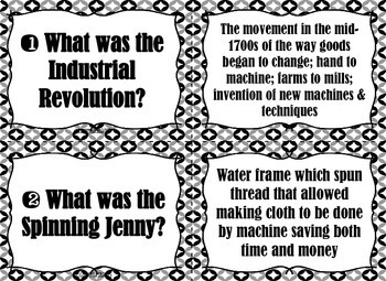 Industrial Revolution TASK CARDS - Black and White