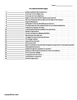 The Industrial Revolution Vocabulary Quiz or Worksheet for World History