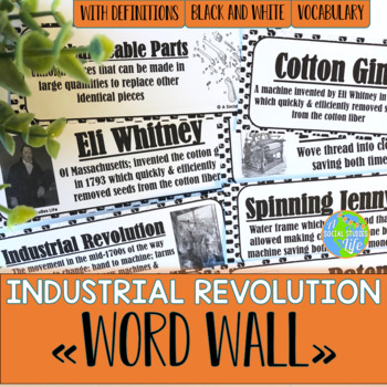 Industrial Revolution Word Wall - Black and White
