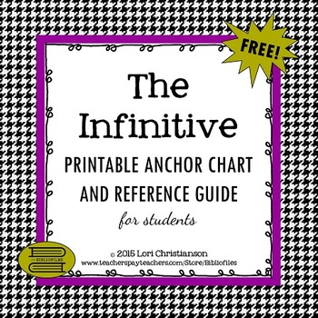 The Infinitive:  Printable Anchor Chart and Reference Sheet