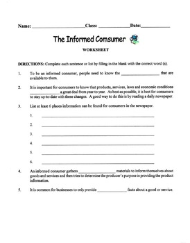 The Informed Consumer Lesson