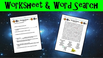 The Inner Planets No Prep Lesson with Power Point, Worksheet, and Word Search