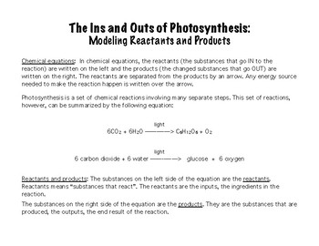The Ins and Outs of Photosynthesis: Photosynthesis and Chemical Reactions