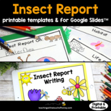 Bugs & Insects Activities: Habitat Report Printable & Digital For Google Slides