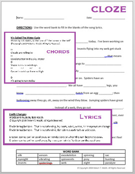 The Insect Song (Song, Lyrics, Chords, Cloze)
