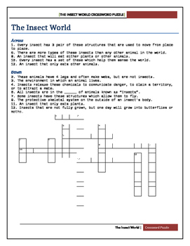 The Insect World Crossword Puzzle