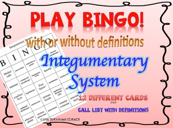 The Integumentary System BINGO! Game- With or Without Definitions