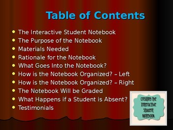Interactive Middle School Student Notebook