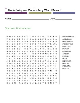 The Interlopers Vocabulary Word Search