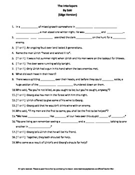 The Interlopers by Saki Complete Guided Reading Worksheet