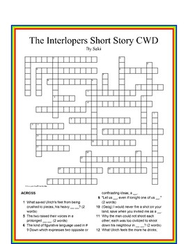 The Interlopers by Saki Crossword Puzzle