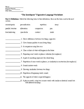 The Interlopers by Saki Figurative Language Worksheet & KEY | TpT