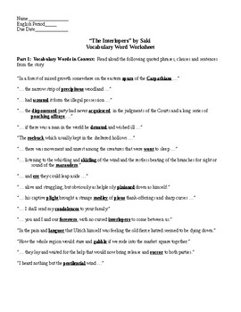 the interlopers teaching resources teachers pay teachers  the interlopers by saki vocab worksheet key