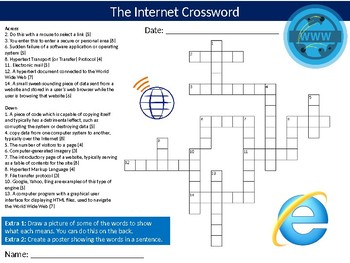The Internet Crossword Puzzle Sheet Keywords Activity Computer Science