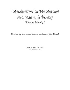 The Introduction to Montessori Art, Music, and Poetry Plus Planner PDF