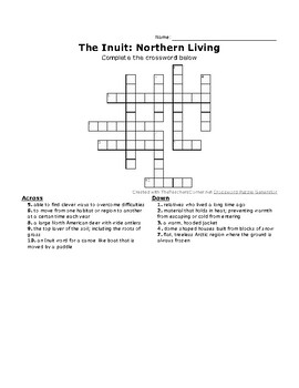The Inuit: Northern Living Vocabulary Crossword Puzzle