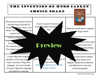 The Invention of Hugo Cabret Choice Board Novel Study Activities Menu Project