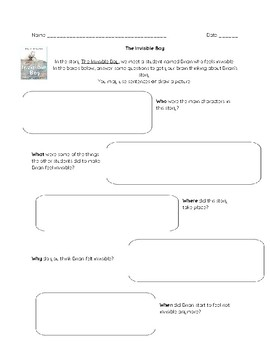 The Invisible Boy - Ask & Answer Questions Worksheet