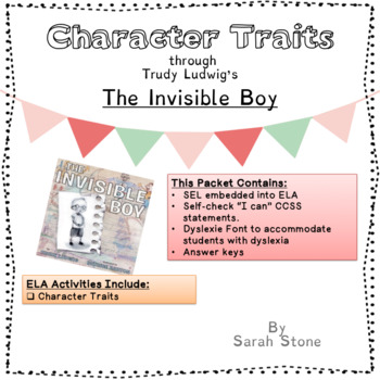 The Invisible Boy Character Traits Worksheets By Teach W Purpose