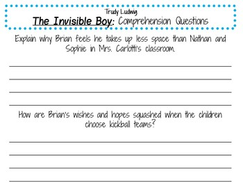 The Invisible Boy by Trudy Ludwig:    A Complete Literature Study!