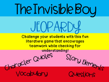 The Invisible Boy by Trudy Ludwig Jeopardy Style Game Show