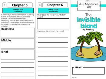 The Invisible Island Novel Study Unit - A to Z Mysteries #9