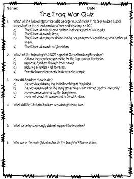 The Iraq War (Operation Iraqi Freedom) Quizzes - 4 total!