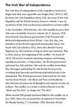 The Irish War of Independence Handout