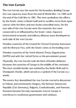 The Iron Curtain Handout