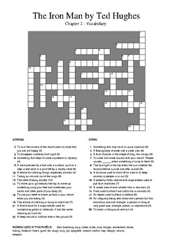 The Iron Man by Ted Hughes - Chapter 2 Vocabulary Crossword