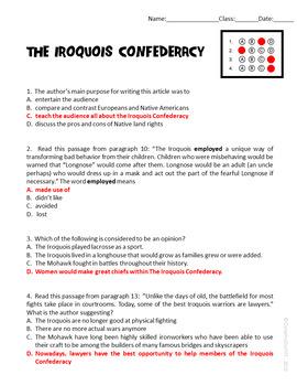 The Iroquois Confederacy Informational Text ELA Test Prep Reading Passage