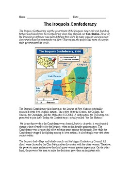The Iroquois Confederacy Reading and ABC activity