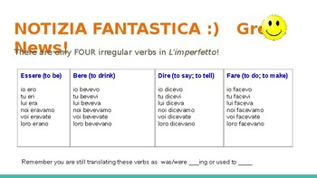The Irregular Imperfect tense in Italian - with examples
