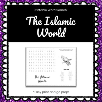 The Islamic World Printable Word Search Puzzle