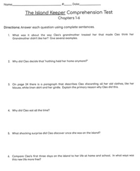 The Island Keeper Comprehension Tests