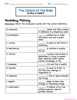 The Island of the Bulls Worksheets