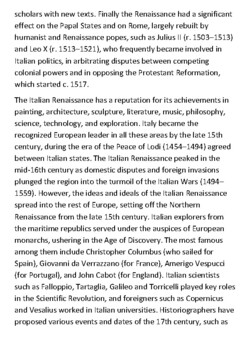 The Italian Renaissance worksheet