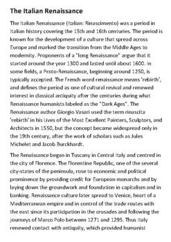 The Italian Renaissance worksheet