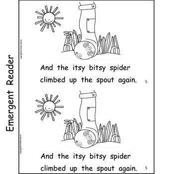 The Itsy Bitsy Spider Nursery Rhyme Literacy Centers for Emergent Readers