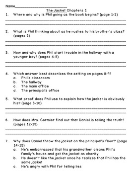 The Jacket--Level Q--Guided Reading Comprehension Questions