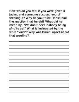 The Jacket Reading Response Journal