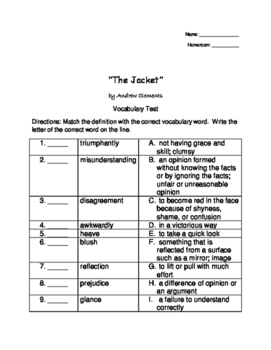 The Jacket by Andrew Clements Vocabulary Test